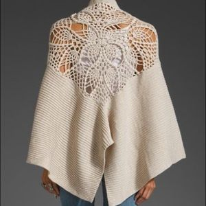free people handicraft crochet wrap shawl One Size